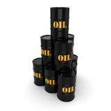 3D rendering Black oil barrels. 3D rendering Black metal oil barrels on white background Royalty Free Stock Photo