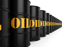 3D rendering Black oil barrels. 3D rendering Black metal oil barrels on white background Stock Images