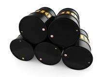 3D rendering Black oil barrels. 3D rendering Black metal oil barrels on white background Royalty Free Stock Photography