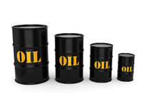 3D rendering Black oil barrels. 3D rendering Black metal oil barrels on white background Stock Photo