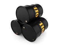 3D rendering Black oil barrels. 3D rendering Black metal oil barrels on white background Stock Photography