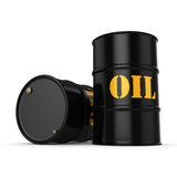 3D rendering Black oil barrels. 3D rendering Black metal oil barrels on white background Royalty Free Stock Image