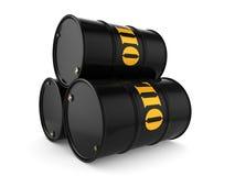 3D rendering Black oil barrels. 3D rendering Black metal oil barrels on white background Royalty Free Stock Images