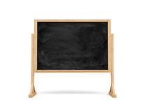 3d rendering of a black rectangle school chalkboard on a wooden stand isolated on white background. Royalty Free Stock Image