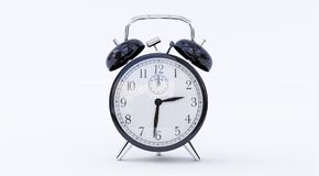 Black retro alarm clock on isolated background. royalty free illustration