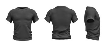 3d rendering of a black T-shirt shaped as a realistic male torso in front, side and back view. Ads and promotions. Sports and fitness. Fashion sales Royalty Free Stock Image