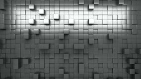 3D rendering. Black and white extruded cubes. Abstract background. Loop.