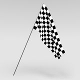 3D Rendering of a black and white finish line flag Stock Photos