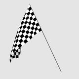 3D rendering of a black and white flag for racing Royalty Free Stock Photos