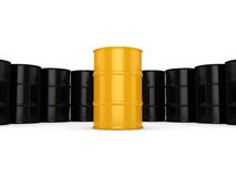 3D rendering black and yellow barrels. Not contain any inscriptions Royalty Free Stock Photos