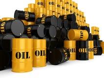3D rendering Black & yellow oil barrels Royalty Free Stock Photos