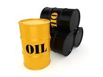 3D rendering Black & yellow oil barrels Royalty Free Stock Photo