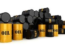 3D rendering Black & yellow  oil barrels Royalty Free Stock Image