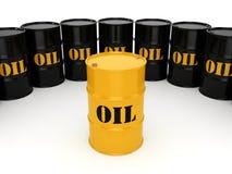 3D rendering Black & yellow oil barrels Stock Photos