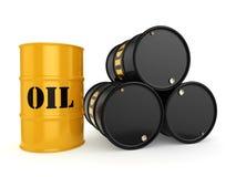 3D rendering Black & yellow oil barrels Stock Photo
