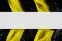 3d rendering of black and yellow polygon warning hazard pattern on Royalty Free Stock Photo