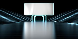 3d rendering of a blank banner in a futuristic stage road with a. Dark background Stock Image