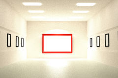 3D rendering of Blank of empty frames in a museum Royalty Free Stock Image