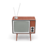 3d rendering of a blank retro TV set with an antenna stands on a low four legged table on white background. Leisure and entertainment. Home appliances. Old Royalty Free Stock Photography