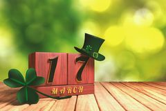 3d rendering of the block calendar 17 March for St Patrick`s Day. With green top hat and shamrock on wooden floor with green bokeh background Royalty Free Stock Images