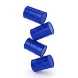 3D rendering blue barrels Stock Photo