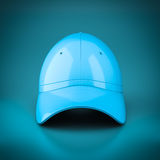 3D rendering blue baseball cap. 3D rendering baseball cap on blue background Royalty Free Stock Photography