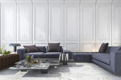 3d rendering blue and brown sofa set in classic luxury white room. 3d rendering interior and exterior design Stock Image