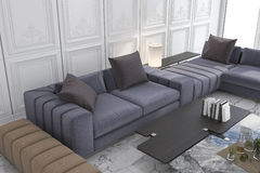 3d rendering blue and brown sofa set in classic luxury white room. 3d rendering interior and exterior design Royalty Free Stock Image