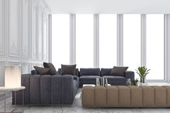 3d rendering blue and brown sofa set in classic luxury white room. 3d rendering interior and exterior design Royalty Free Stock Images