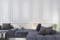 3d rendering blue and brown sofa set in classic luxury white room Stock Photos