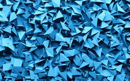 3D rendering blue color triangle geometrical chaos background Stock Image
