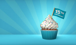 3D Rendering of Blue Cupcake, Silver Strips Around Cupcake Royalty Free Stock Photography