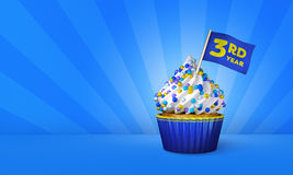 3D Rendering of Blue Cupcake, Yellow Stripes around Cupcake. 3rd Year Text on the Flag, Blue Paper Cupcake Stock Photos