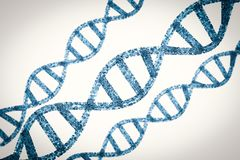 Dna helix or dna structure. 3d rendering blue dna helix or dna structure stock photography