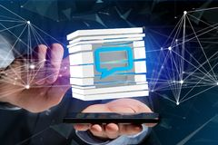 3D rendering Blue Email symbol displayed in a sliced cube. View of a 3D rendered Blue Email symbol displayed in a sliced cube Stock Photo