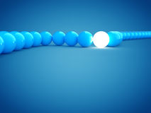 3d rendering of blue and light balls with dof Royalty Free Stock Photo