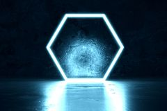 3d rendering of blue lighten hexagon. And grunge wall background Royalty Free Stock Images