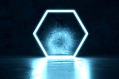 3d rendering of blue lighten hexagon. And grunge wall background stock illustration