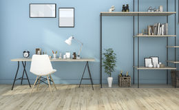 3d rendering blue living room with built in shelf Royalty Free Stock Images