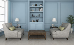 3d rendering blue living room with nice armchair and furniture Stock Photography