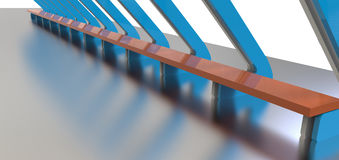 3d Rendering of blue metal  Arch Construction  Stock Photos