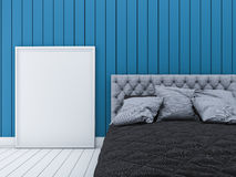 3d rendering blue modern wall bed room with picture frame Royalty Free Stock Photography