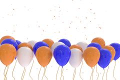 3D rendering of blue, orange, white balloons on white background. With glitter Stock Image