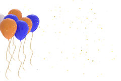 3D rendering of blue, orange, white balloons on white background. With glitter Royalty Free Stock Photos