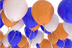 3D rendering of blue, orange, white balloons on white background. With glitter Royalty Free Stock Photo