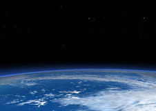 3D Rendering Blue Plant Earth. 3D rendering of a blue planet Earth in outer space Royalty Free Stock Images