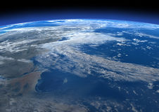 3D Rendering Blue Plant Earth. 3D rendering of a blue planet Earth in outer space Royalty Free Stock Image