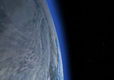 3D Rendering Blue Plant Earth. 3D rendering of a blue planet Earth in outer space Royalty Free Stock Photography