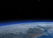 3D Rendering Blue Plant Earth. 3D rendering of a blue planet Earth in outer space. Some  elements of this image furnished by NASA Royalty Free Stock Photo