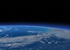 3D Rendering Blue Plant Earth. 3D rendering of a blue planet Earth in outer space. Some  elements of this image furnished by NASA Royalty Free Stock Images